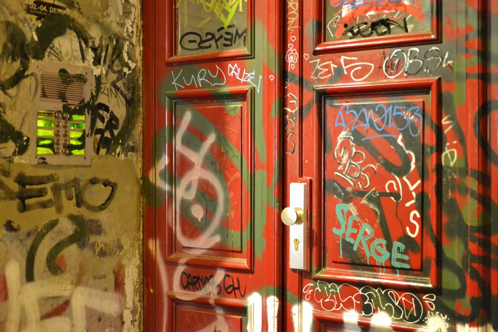 Graffiti door in Berlin, Germany