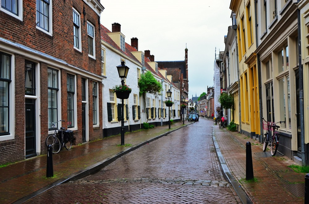 Wet cobblestone street in Utrecht, Holland