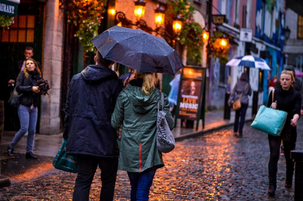 Rainy evening in Temple Bar, Dublin, Ireland
