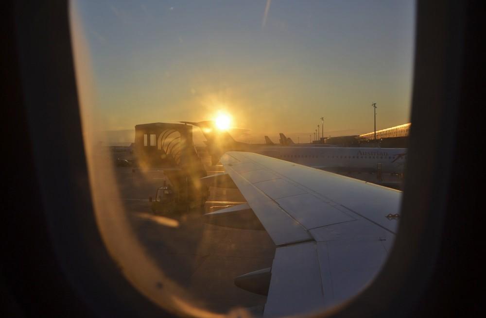 Landing in Vienna, Austria